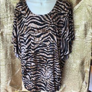 Animal print, embellished tunic top. XL